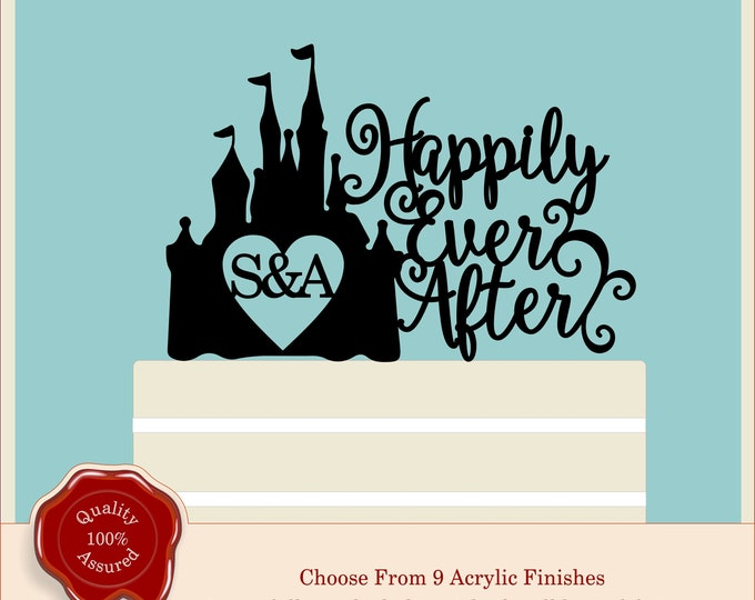 Disney Cinderella, Fairytale Disney Castle Princess Personalised Acrylic Wedding Cake Topper, Couple, Engagement, Anniversary