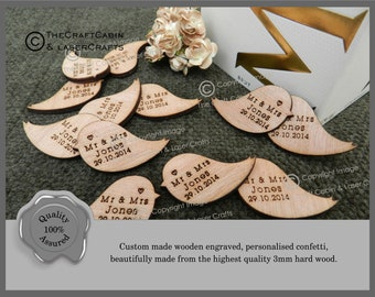 Personalised Wooden Love Birds Table Confetti, Decor, Party Decorations. Wedding Favours, Unique lovebird Design