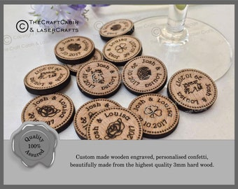 Personalised Wooden Lucky Penny Style Tokens Wedding Favours, Confetti. Welsh, Irish, Scottish, English Vintage Table and Party Decorations.
