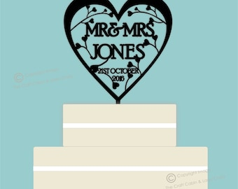 Heart & Swirls Mr, Mrs- Acrylic Personalised Cake Topper. Vintage Weddings