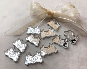 Personalised Custom Confetti- Disney Mickey Hands, Heart Style. Disney Wedding Table Decor - Mickey Minnie Mouse. Ideal Party Decorations.