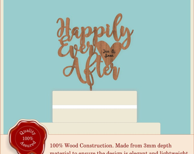 Happily Ever After Swirly Script with engraved heart - Wooden Personalised Cake Topper. Vintage, Rustic Weddings