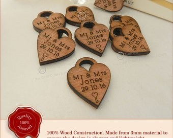 Personalised Mini Heart Lock With Name and Date. Perfect for Wedding Table Confetti or Favours. Ideal Vintage Table and Party Decorations.