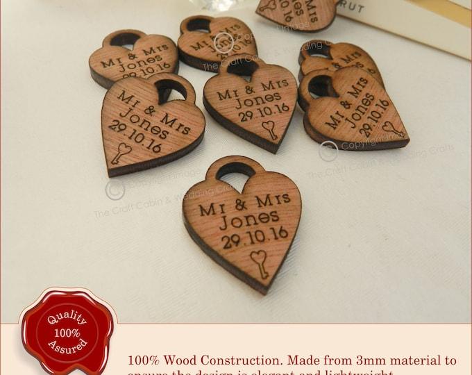 Personalised Mini Heart Lock, Favours, Table Decor, Vintage Wedding