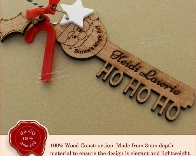 Santa Key. Stunning Personalised Wooden Engraved 'Santa's Magic Key' Christmas Eve Gift