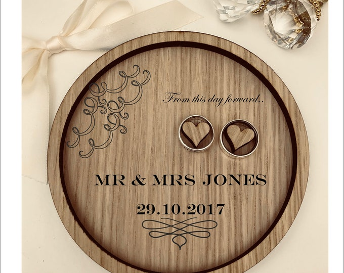 Wedding Ring Bearer Tray: Personalised Engraved From this day forward. Dish, Box, Gift, Vintage, Rustic, Weddings, Anniversary.