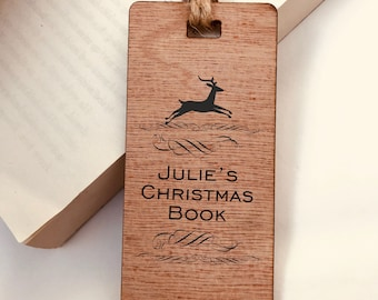 Personalised Engraved Wooden Bookmark- Christmas Reindeer. Engraved Custom Special Gift for Reader, Him or Her. Christmas Eve Box Filler.