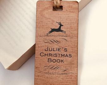 Christmas Reindeer, Wooden Bookmark, Personalised, Engraved, Family Gift, Reader, Custom, Birthday, Christmas, Vintage, Rustic
