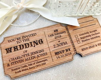 Personalised Wedding Invitations. Wooden Event Ticket Style, Vintage, Rustic. Mr & Mrs, His Hers, Couple. RSVP