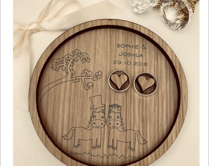 Wedding Ring Bearer Tray: Personalised Engraved Farmer, Cute Wedding Horses. Dish, Box, Gift, Farm, Vintage, Rustic, Weddings, Anniversary.