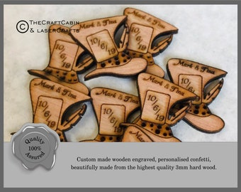 Personalised Wooden Mad Hatters Hat Wedding Favours, Table Confetti, Party Decorations. Alice in Wonderland