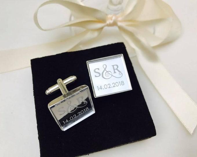 Personalised Engraved Square Monogram Silver Mirror Cufflinks. Groom, Groomsmen, Gift, Modern, Classic, Weddings, Anniversary