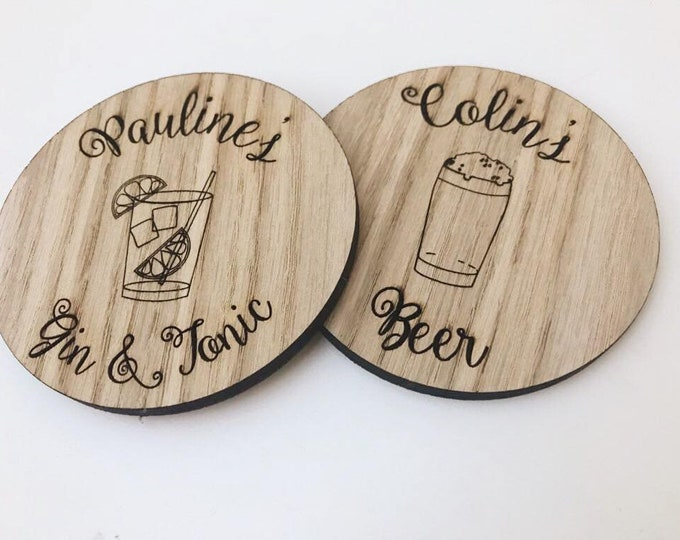 Unique Luxury Round Wooden Personalised Engraved Coffee, Tea, Alcohol, Drink Coaster. Ideal Christmas, Wedding, Birthday, Anniversary Gift.
