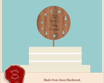Personalised Christmas Cake Topper- Wooden Round Engraved Style Topper. Ideal for Vintage, Rustic, Unique Cake or Family Xmas Party.