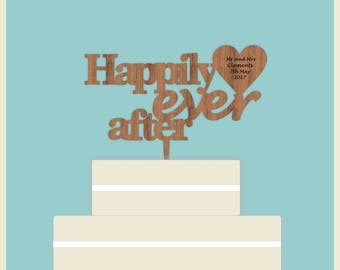 Personalised Custom Cake Topper - Happily Ever After. Duluxe Unique Topper - Perfect for Wedding Cake, Mr and Mrs with Vintage/Rustic Theme.