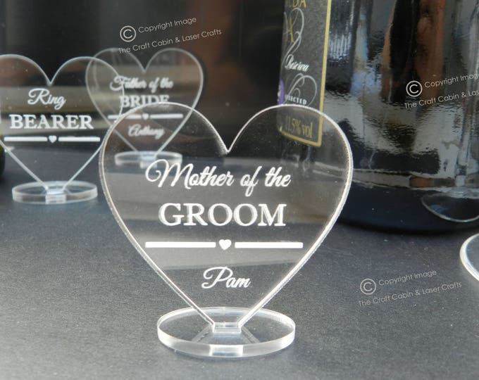 Personalised Heart Engraved Place Settings - Table Names, Wedding Favours