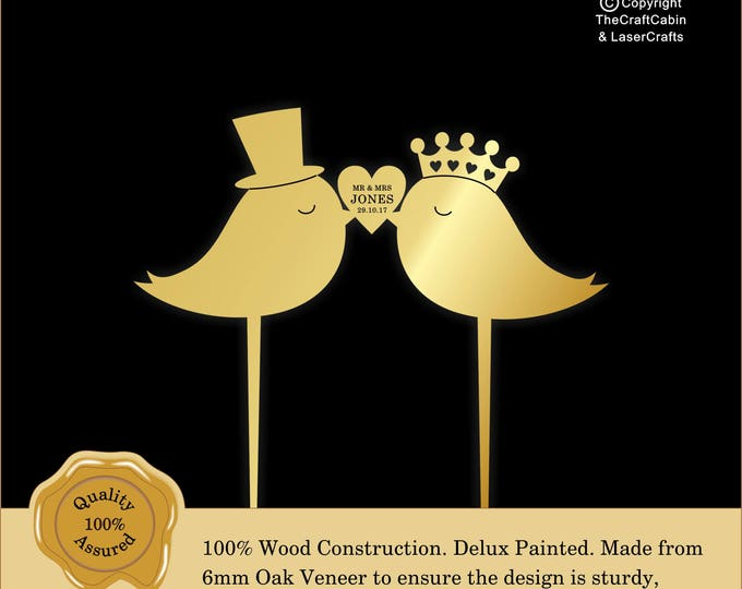 Wedding Love Birds  'Delux' Personalised Cake Topper. Couple, Engagement, Anniversary: Various Colours