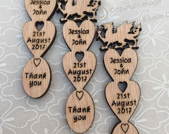 Personalised Wooden Welsh Dragon Mini Lovespoons. Ideal Vintage Wedding Favours or Table Decorations/Confetti.