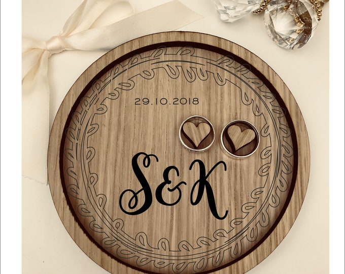 Wedding Ring Bearer Tray: Personalised Engraved Monogram Leaves Wreath. Dish, Box, Gift, Vintage, Rustic, Weddings, Anniversary, Pillow