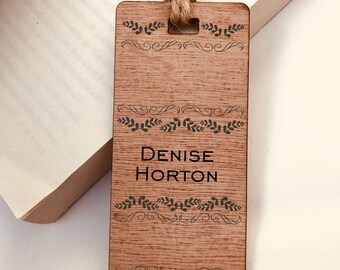Wooden Bookmark, Personalised, Engraved Autumn Leaves Design His Hers Gift, Reader, Custom, Birthday, Christmas, Vintage, Rustic