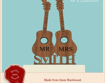 Acoustic Guitar Wedding Cake Topper, His Hers Mr Mrs Couples, Music Lovers Wooden Vintage Engagement Anniversary Table Decor Cake Decoration