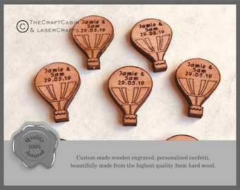 Personalised Wooden Hot Air Balloon Custom Confetti Ideal Party Decorations for Table Decor, Wedding or Birthday Favours, Party Bags etc