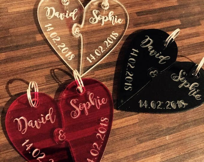 Personalised Valentine Heart Keyring Set, Couples, Valentine's Day Gift, Mr + Mrs, His, Hers, Boyfriend, Girlfriend, Wedding, Anniversary