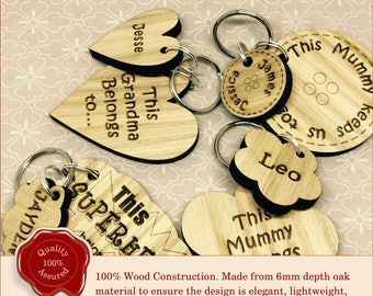Personalised Mothers Day/Fathers Day Key Ring. Wooden Engraved Special Gift. Custom Gift For Family, Friend, Mum, Dad or Grandma/Grandad.