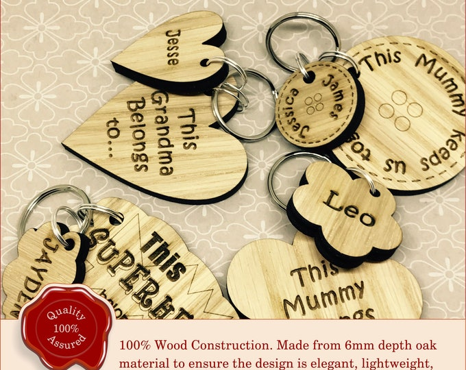 Personalised Key Rings - Father's Day, Mothers Day Wooden Keyrings, Engraved Gift, Family, Friend, Mother, Father, Lovers, Couples