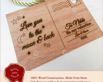 Wooden Birthday Card, Valentine gift, Postcard Style Gift 21st, 18th, Birthday, Christmas, Personalised Engraved