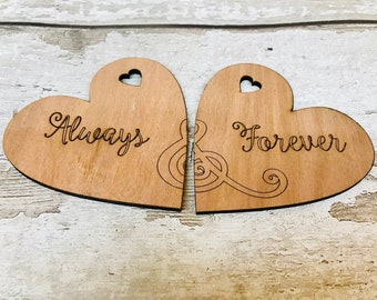 INTRODUCTORY OFFER** Unique Always & Forever Couple's Wooden Coasters. Rustic Gift, Vintage Style, Wedding, Valentines, Engagement.