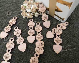 Personalised Wooden Lovespoons Engraved with Names and Date. Welsh Inspired, Ideal for Wedding Favours, Table Decorations, Confetti.