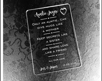 Personalised Auntie Gift Wallet Card Keepsake. High Quality Engraved Acrylic, Gift from Bride, Groom, Couples, Thank You. Auntie, Sister,
