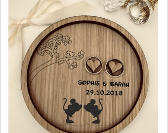 Wedding Ring Bearer Dish Tray: Personalised Engraved Disney Mickey & Minnie Box Gift Vintage Rustic Weddings Gift, Wooden Pillow