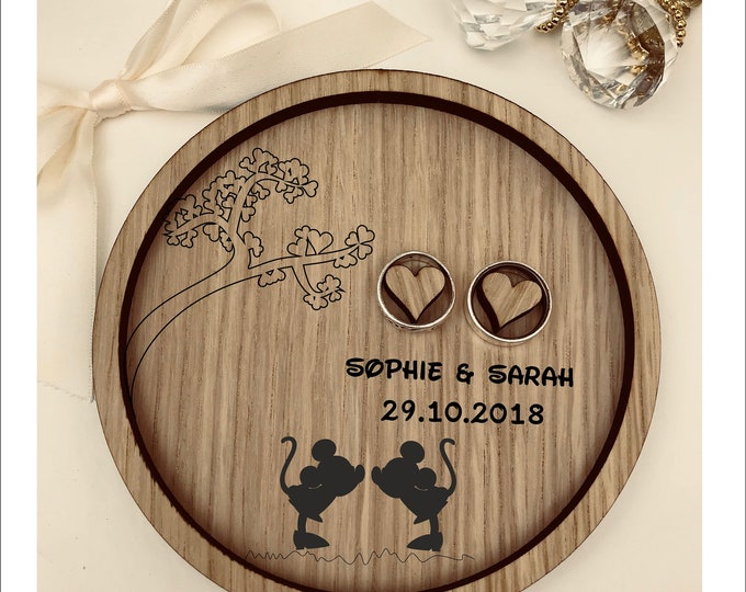 Wedding Ring Bearer Tray: Personalised Engraved Disney Mickey & Minnie. Dish, Box, Gift, Vintage, Rustic, Weddings, Anniversary, Pillow