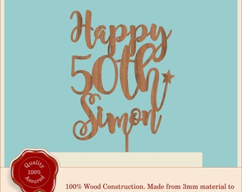 Happy 50th Special Personalised  Birthday Cake Topper - Wooden, Vintage, Rustic 18th, 21st - any age/number