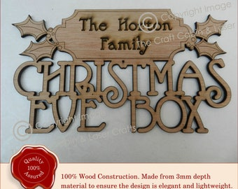 Wooden Family Traditional Personalised 'Christmas Eve Box' Sign.  Craft Sign, Plaque