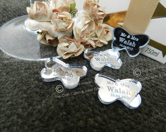 Personalised Butterflies Wedding Confetti, Mr & Mrs Table Decorations, Unique, Custom Made. Your Own Text Engraved