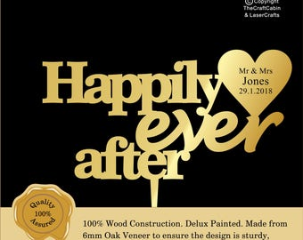 Happily Ever After Wedding 'Delux' Personalised Cake Topper. Various Colours
