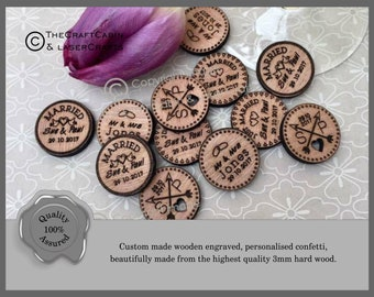 Personalised Wooden Rustic Tokens Wedding Favours, Round Table Confetti. Vintage Table Decor and Party Decorations.