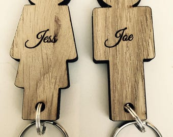 Personalised Couples Wooden Key ring set. Valentines Day Gift. Wedding Gift Idea, Anniversary Gift, His Hers Or Same Sex, Mr & Mrs