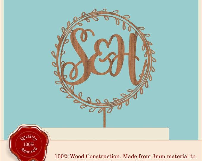 Monogram Wreath with Leaves - Wooden Personalised Cake Topper. Vintage, Rustic Weddings