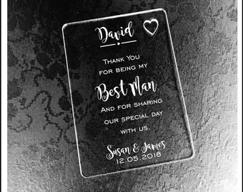 Personalised Best Man Gift Wallet Card Keepsake. High Quality Engraved Acrylic, Gift from Bride, Groom, Couples, Thank You.