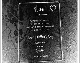 Personalised Mum Wallet Card. Mother's Day Gift and Memory Keepsake. Engraved Special Gift Card for Birthday or Christmas Gift/Present.