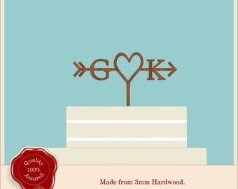 Heart Monogram Initials with Arrow - Wooden Personalised Wedding Cake Topper. Vintage Rustic Weddings, Natural Earthy Wood