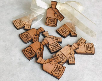 Personalised Wooden Drink Me Bottles: Wedding Favours, Table Confetti, Party Decorations. Alice in Wonderland