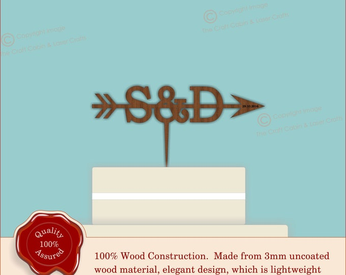 Small Monogram Arrow - Wooden Personalised Cake Topper. Vintage Weddings