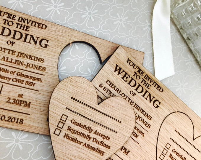 Personalised A7 Small  Wedding Invitations. Wooden Post-Card Style Vintage, Rustic. Mr & Mrs, His Hers, Couple. RSVP