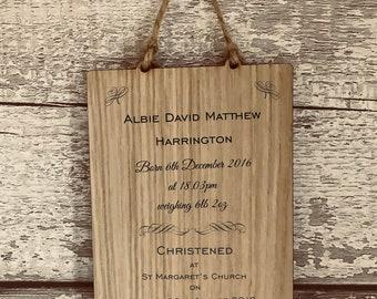 Holy Communion Personalised Christening Plaque, Sign, Gift. Keepsake. High Quality Engraved Oak. Baptism Naming Day
