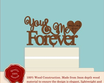 Wooden Personalised Cake Topper 'You & Me Forever'. Vintage/Rustic Style for Wedding Cake Decoration. Perfect for Anniversary or Engagement.